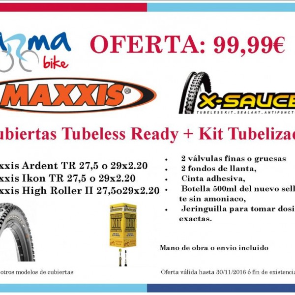 Juego Cubiertas Maxxis Tubeless Ready + Kit Tubelizado Foto 1