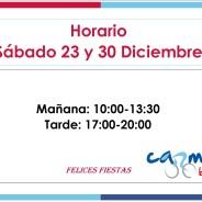 Eventos y salidas Abierto por la tarde Sábado 23 y 30 de Diciembre 2017