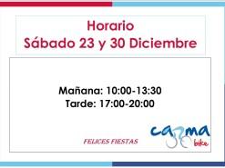 Eventos Eventos y salidas Abierto por la tarde Sábado 23 y 30 de Diciembre 2017
