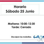 Eventos y salidas Eventos Horario Sábado 25 de Junio