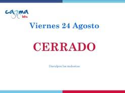 Eventos Eventos y salidas Viernes 24 agosto 2018 CERRADO