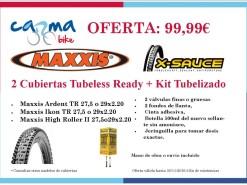 Ofertas y promociones Eventos y salidas Juego Cubiertas Maxxis Tubeless Ready + Kit Tubelizado 99.99€